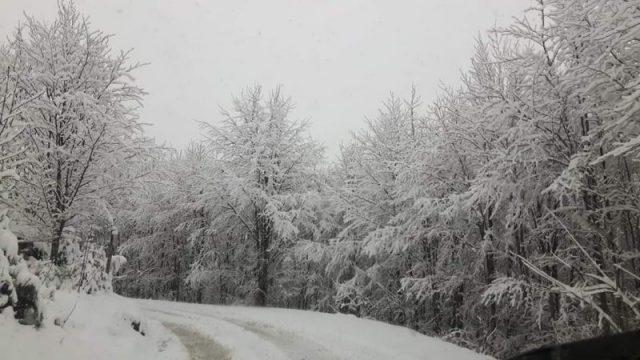 tornata la neve sulla montagna toscana
