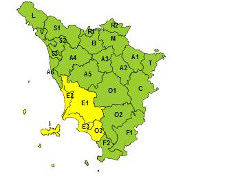 Esteso codice giallo in Toscana