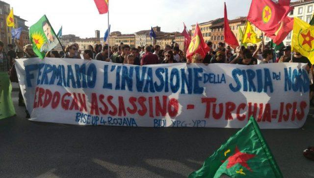 Manifestazione a sostegno dei Kurdi a Pisa